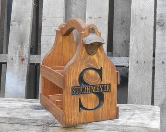 Rustic wooden Groomsmen gift - Beer Tote Personalized Beer Caddy - Wedding Gift - Gift for him