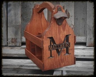 Personalized Beer Carrier - Beer Tote handmade - 5th anniversary gift -  Gift for him - Man cave Bar decor