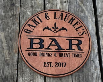 Custom Bar sign - Personalized - Pub sign -  Round Wood sign - Gift for him - Groomsmen gift