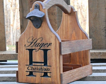 Beer Tote Beer Carrier Personalized Wedding Gift - Groomsmen Gift, Birthday, Fathers day, Man cave gift