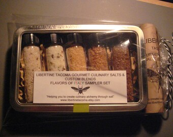 5 Vial Gourmet Culinary Salts & Blends Flavors of Italy Sampler Set In Metal Box