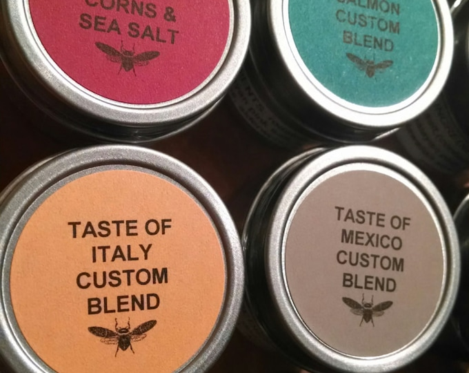 Set of 12 Individual 1oz Food Safe Tins of Gourmet Culinary Salt, Spice and Herb Blends