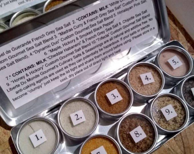 10 Tins Gourmet Culinary Salts & Blends Sampler Set
