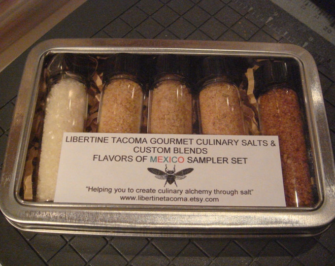 5 Vial Gourmet Culinary Salts & Blends International Flavors Sampler Set In Metal Box