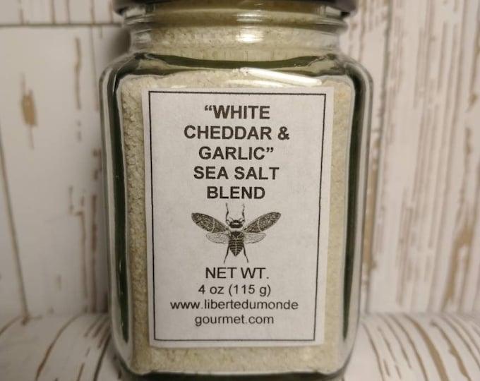 White Cheddar, Garlic & French Grey Sea Salt in a Variety of Sizes