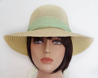 Vintage Woven Sun Hat with Removable Green Scarf fe41c50a836