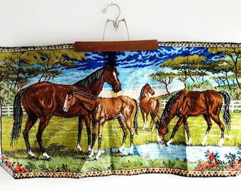 Vintage Horse Rug // Vintage Boho Tapestry // Italy Tapestry // Horse Decor // Equestrian Decor // Horse Lover // Bohemian Decor