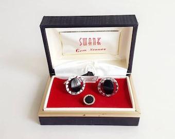 d1a3174b65ce Vintage Swank Onyx Cufflinks and Tie Tack Men's Accessories Wedding Cuff  links