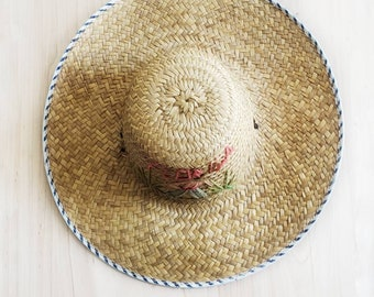 8f965c2f Vintage Wide Brim Straw Hat Embroidered With Florida