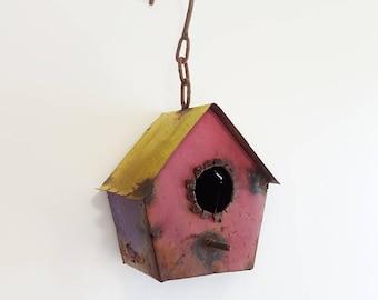 Vintage Rusty Metal Birdhouse Whimsical Bird House