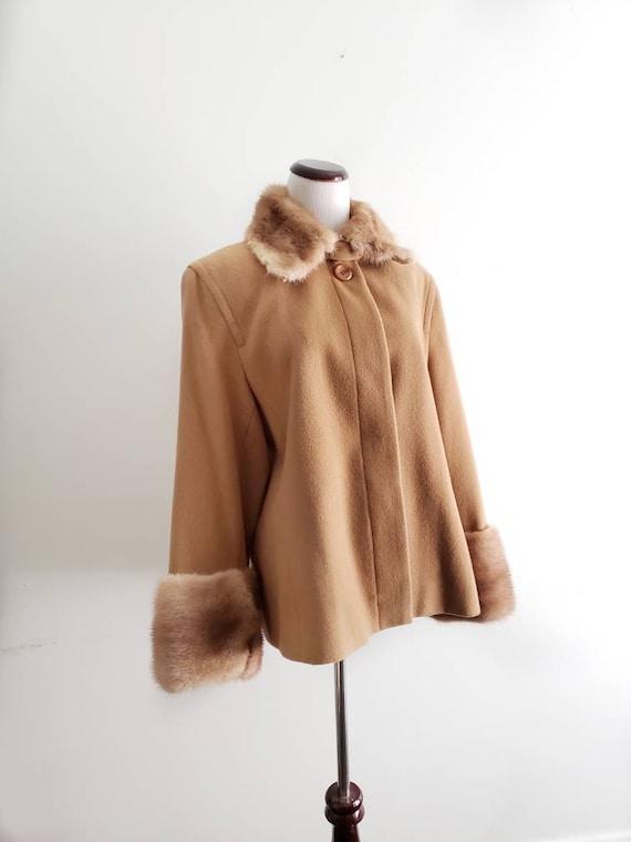 Vintage Wool Coat with Fur Women's Camel Coat Clas