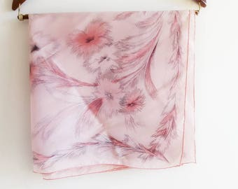 Vintage Silk Scarf with Pink Spider Mum Flower Blossoms