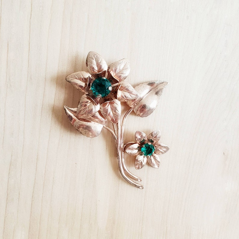 Jewelry & Watches Fine Pins & Brooches Vintage Sterling Silver Floral Pin/brooch With Green Stones