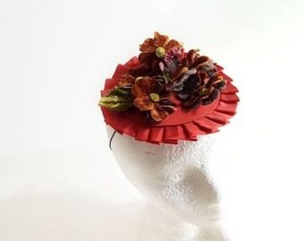 Vintage Flower Fascinator Hat Burgundy Handmade