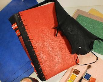 Sketchbook Beaded Leather Black and Red Blank Artist's Sketch Journal