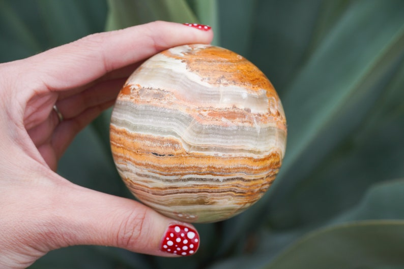 P0A40 Pakistani Green Banded Onyx Sphere Crystal 70mm