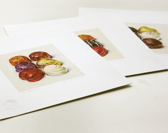 Chocolates. Set of 3 limited edition giclée prints