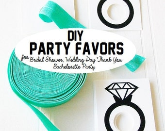 Party Favor Gift Tags, Bachelorette Gift Tag, Bridal Shower Tags, Fold Over Elastic, Elastic by the yard