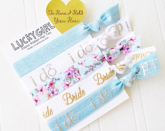 Something Blue gift for Bride to Be Hair Ties and Card, best day ever, wedding day survival kit, brdiesmaid, maid of honor, oh happy day
