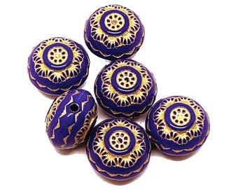 Saucer Shaped Acrylic Beads, Moroccan Style, Jewelry Making, Deep Blue Violet, Gold Detailing, Beads, 13 x 9mm, B'sue Boutiques, Item03244