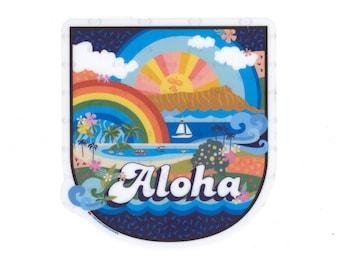 ALOHA RAINBOW Diecut Vinyl Sticker ~ Hawaii | 70s | Beach | Tropical | Waterproof | Laptop | Water Bottle