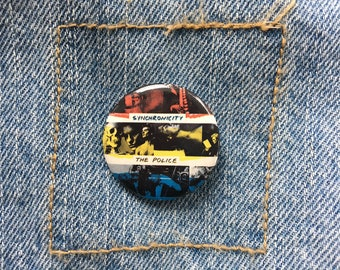 Vintage 80's Pinback BUTTON Pin ~ THE POLICE Synchronicity ~ New Old Stock