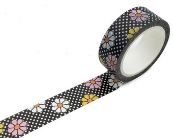 WASHI TAPE Meadow Retro Floral ~ 15mm x 10m ~ EXCLUSIVE Design ~ Flowers ~ Polka Dots ~ 60s ~ 70s ~ Limited Edition