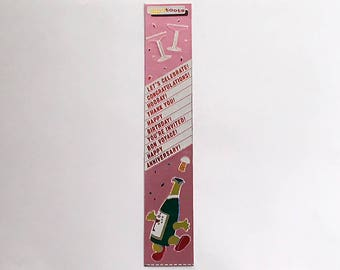 Vintage 80's CARDESIGN TOOTS Stickers ~ Metallic Dancing CHAMPAGNE Celebration Phrases Congratulations