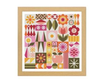 GARDEN VARIETY Cross Stitch Pattern (Digital PDF Download) ~ Flowers | Floral | Midcentury Modern | Atomic