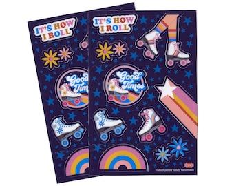 GOOD TIMES Roll Stickers TWO Sheets ~ Rollerskate | Roller Skate | Skating | 70s | Waterproof | Vinyl | Flowers | Rainbow