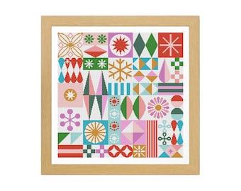 Santa's Workshop Cross Stitch Pattern (Digital PDF Download) ~ Christmas | Holiday | Midcentury Modern | Atomic