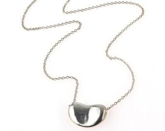 Tiffany & Co Elsa Peretti Sterling Silver Bean Necklace