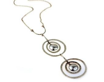 Hammered Circles Modernist Sterling Silver Necklace