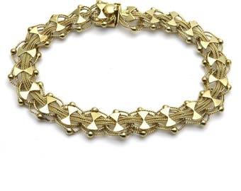 52b60fd8b Estate Vintage 14k Gold Woven Fancy Links Chain Bracelet 6.75