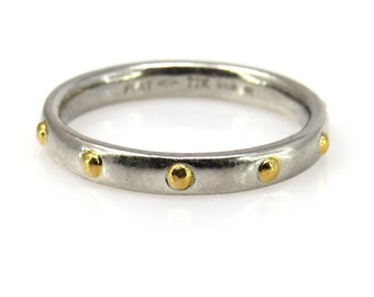 Platinum Band Ring with 22k Gold Studs Size 6.25 US