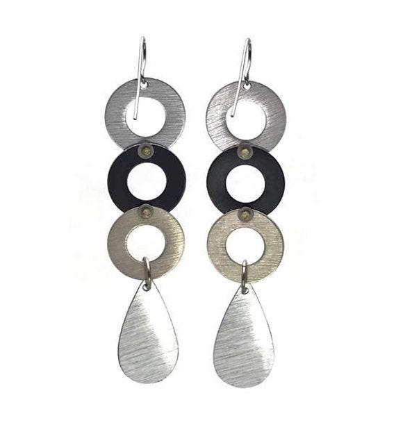 80s Post-Modern Long Geometric Statement Earrings - image 2