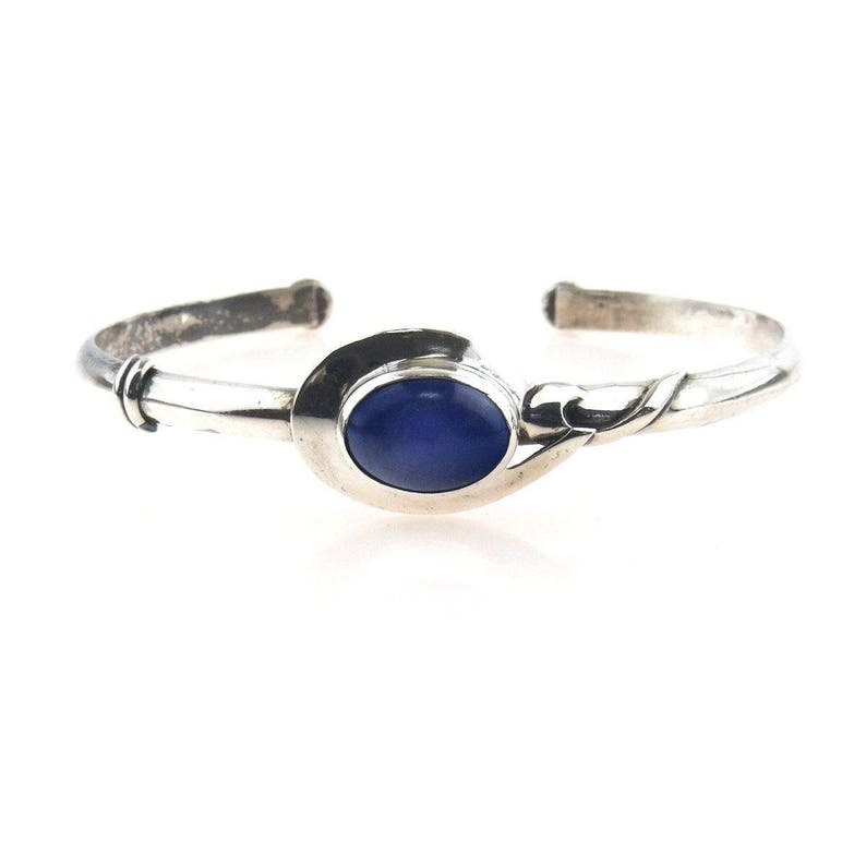 Adjustable Sterling Silver Lapis Lazuli Studio Made Cuff  Bracelet 7.5