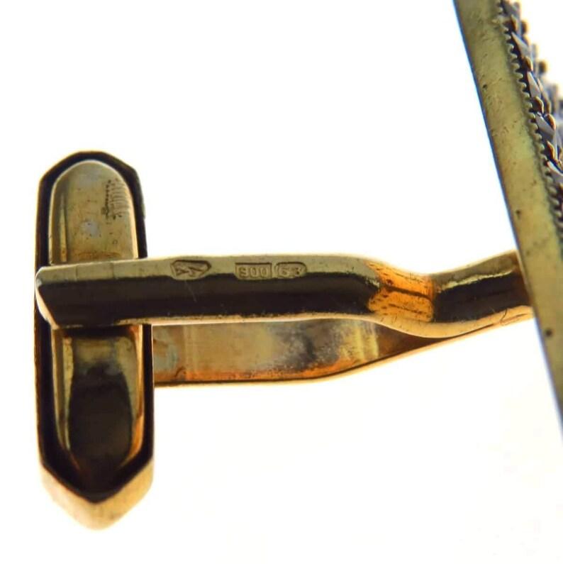 Vintage Czech Bohemian Garnet Cufflinks  Gold over 900 Silver