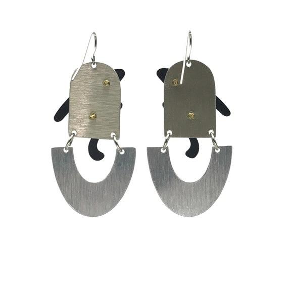 80s Post-Modern Geometric Statement Earrings - image 2