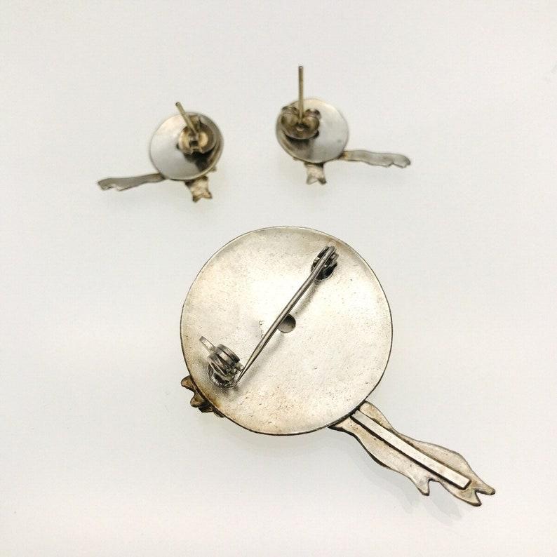 Enameled Sterling Silver Straw Hat Brooch and Earrings Set