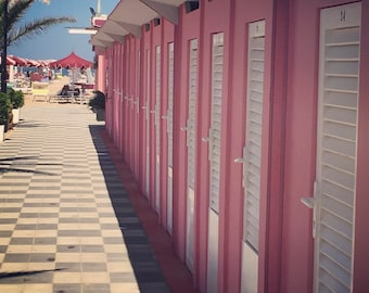 Square Beach Photograph, Pink Picture, Photograph of Beach Cabanas, Pink Photograph, Pink Home Decor, Pink Art