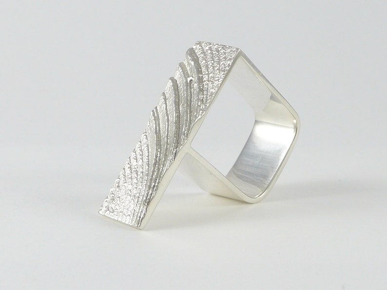 Wave square ring in sterling silver image 0