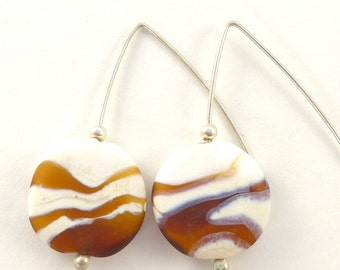 Ivory, white and topaz soda lime glass bead earrings