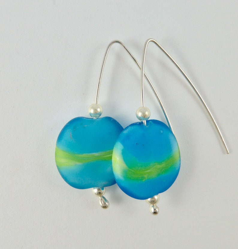 Aqua blue and green glass bead earrings on sterling silver image 0
