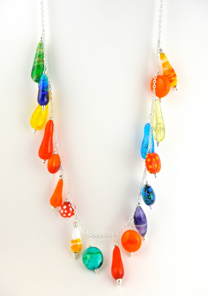 Summertime necklace with handmade lamp work glass beads on image 0