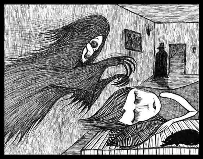 Pen Ink black white drawing ghost demon shadow haunting From image 1