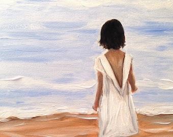 GIRL ON BEACH Fine Art Print Oil Painting by Elizabeth Barrett