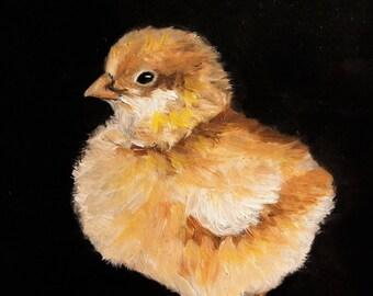 Baby CHICK Fine Art Print Oil Painting by Elizabeth Barrett