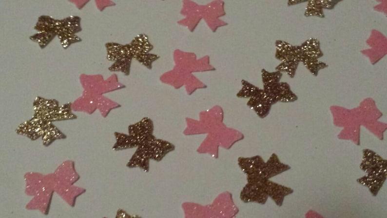 Pink Gold Princess Glitter Bows Confetti Table Decor Or
