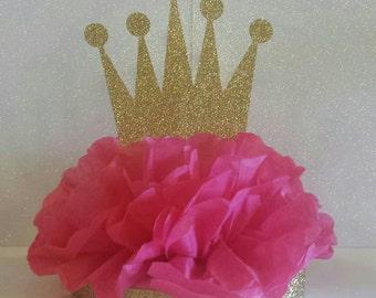 Crown Tiara Glitter Centerpiece Pink Gold Royal Princess Birthday Party
